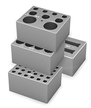 Heating blocks for IKA Dry block heaters can carry various sample inserts