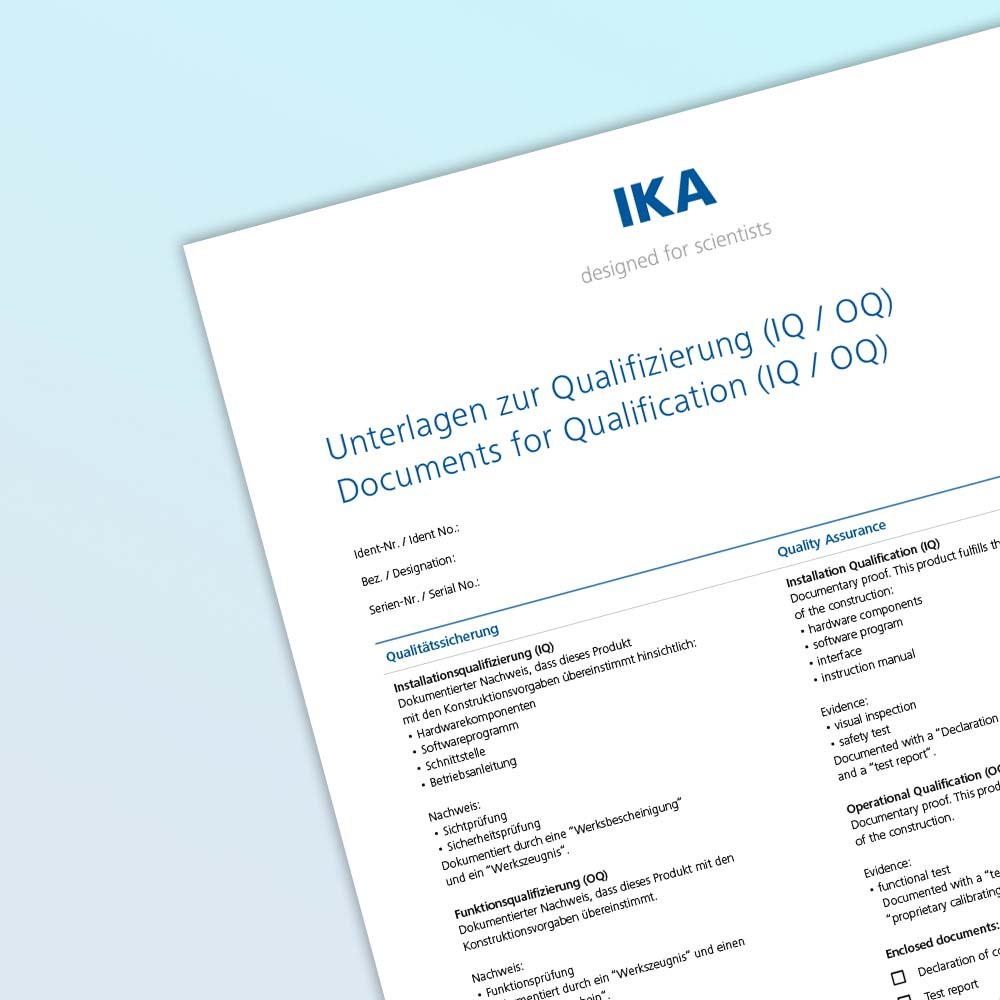 IKA Calorimeters Documents for Qualification (IQ/ OQ) ANA