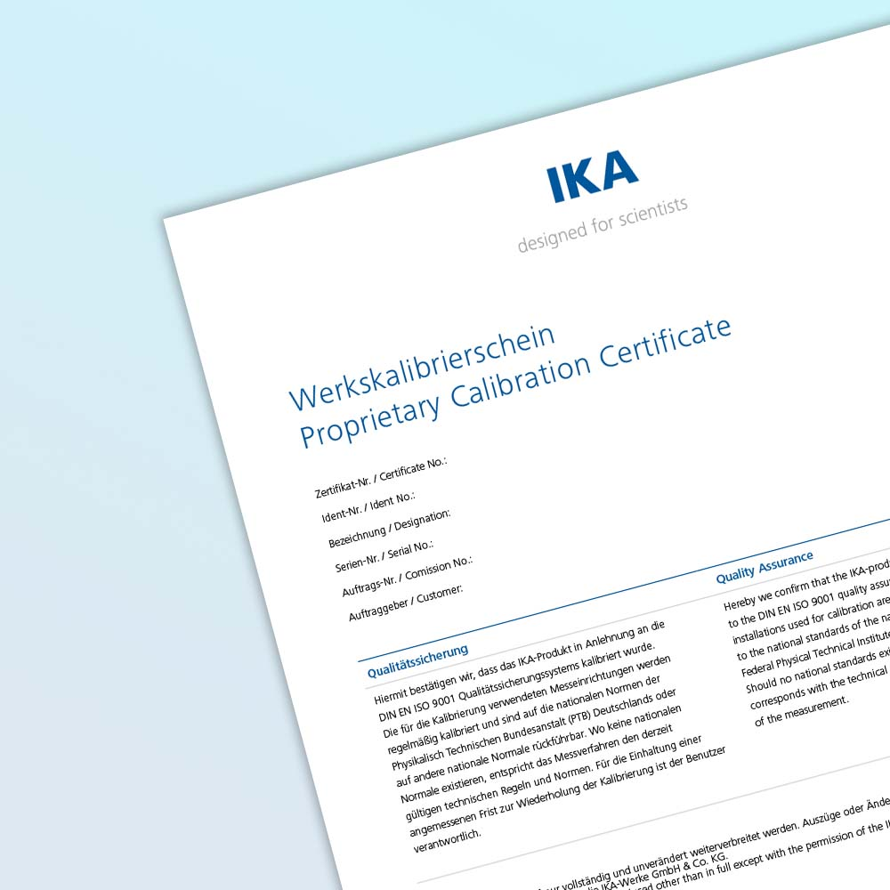 IKA Magnetic Stirrers Proprietary Calibration Certificate/ LAB